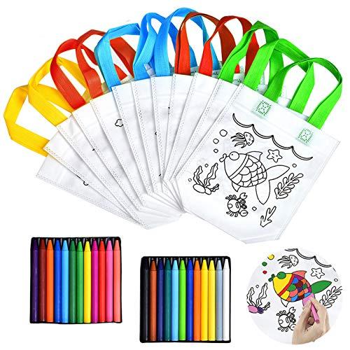 Queta Stofftaschen zum Bemalen für Kinder, 12 Stück Kinder Stoffbeutel Set und 24 Farbe Buntstifte für Kinder DIY Graffiti Taschen für Geburtstagsfeier Schulen Kindergarten