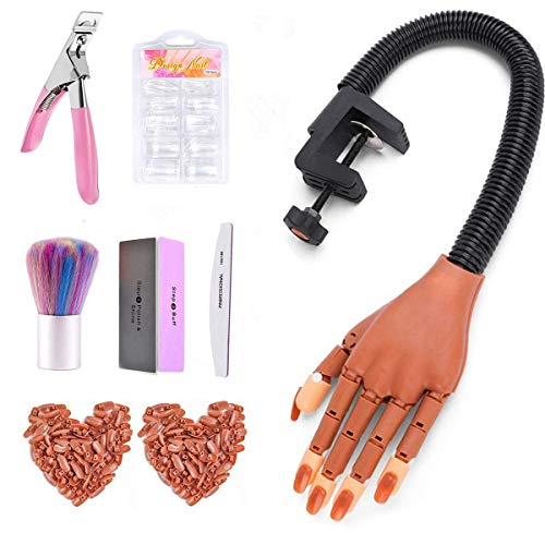 Practice Hand for Acrylic Nails-Flexible Moveable Nail Training Practice Hand Kit, False Fake Mannequin Hands with Fake Nail Tips, Nail Files and Clipper for Acrylic Nail Technician Manicure Supply