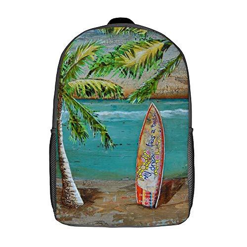 Mochila resistente al agua de 17 pulgadas mochila conveniente para correr escalada portátil libro bolsa con correa acolchada para damas, Beach Collage Surf Art (Blanco) - TB-ZXY-0w36lrzm9mm1-1
