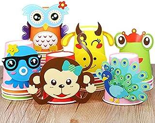 Craft Toys - 12pcs Children 3D DIY handmade paper cups sticker material kit Whole set Kids kindergarten school art craft (...