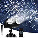 Snow Projector Light, FITAGS Christmas Snowflake Night Projection Lamp, Waterproof LED Snowfall Spotlight for Halloween Holiday Party Home Garden Landscape Decor, with Remote Control, Indoor/Outdoor