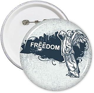 DIYthinker Rue Graffiti Culture Hip-Hop Liberté Religion Ange Art Illustration rond Motif Pins Badge Bouton Décoration Vêt...