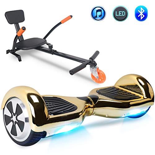 """Windgoo Hoverboard, 6.5\"""" Self Balance Scooter mit Hoverkart, Elektro Skateboard für Kinder Elektroroller mit Bluetooth und LED-Lichtern Solider Sitz Spielzeug für Kinder (Chrome Gold)"""