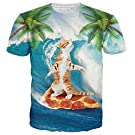 Belovecol Cool 3D Printed Casual Hawaii Pizza Cat T Shirts for Teens Girls Boys Short Sleeve Crewneck Graphic Tee Shirts Tops S