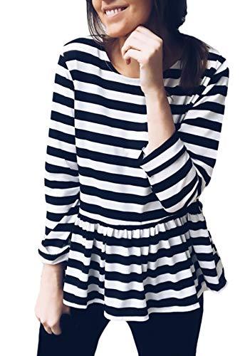 BIRAN-5 Top Shirt koszule T-shirt T-shirty unikalne damskie T-shirty T-shirty bluzka z długim rękawem bluzka top bluzki damskie wiosna jesień wyprzedaż kobiet w paski z okrągłym dekoltem w paski na co dzień luźna