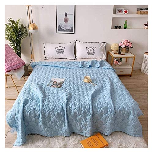 HFXY All Season Duvet 1.5 Tog Antibacterial Comforter Microfiber Lightweight Polyester Bed Double/single Size 100% Cotton Duvet Quilt For Sofa Bed Blanket 1012 (Color : Blue, Size : Single)