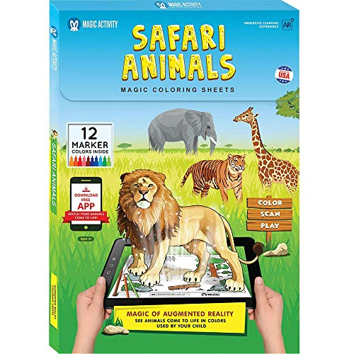 Safari Animals Augmented Reality Coloring Book w/ Learning Activities - Bring Animals to Life (12 Washable Markers & App Included)