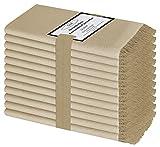 Baumwolle-Klinik Pack de 12 Servilletas de Tela con Flecos 50 x 50 cm, Servilletas de Algodón, Calidad de Hotel Duradera, para Boda, Eventos y Uso Doméstico Regular Beige