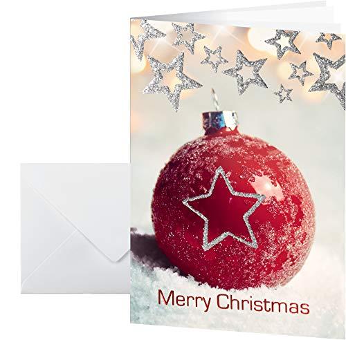 Sigel DS060 - Set di biglietti di auguri natalizi con busta, goffratura e sfera rossa glitterata, formato DIN A6, 10 pezzi
