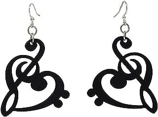 Treble Clef Heart Dangle Earrings, Wood with Stainless Steel Hooks, Black
