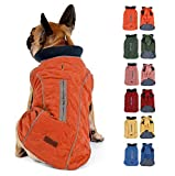 Komate Abrigo de Invierno para Perros Chaleco cálido con Vestido de Rayas Reflectantes para Perros pequeños medianos Grandes (S (Cofre: 40-52cm), Naranja)