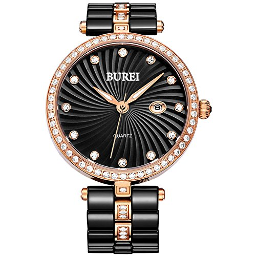 BUREI Damen Quarzuhr Analog Uhr Damen Elegant Wasserdicht Armbanduhr mit Datum Dmenuhr Schwarz Keramikarmband