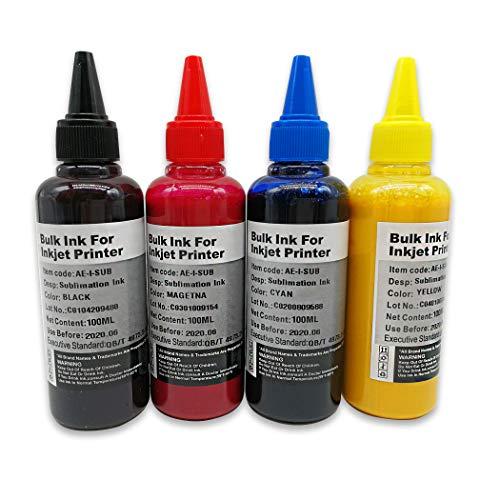 Sublimation Tinte, 4 x 100 ml, kompatibel mit 29XL 27XL 34XL 35XL 33XL 16XL 18XL, Calore Transfer Druck auf Piktassen aus Polyester, Achse des Telefons etc.