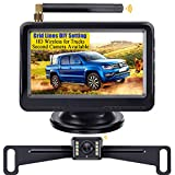 LeeKooLuu F08 HD Digital Wireless Backup Camera and 4.3'' Monitor System for Cars/Trucks/ATVs/SUVs/UTVs/Can-Am IP69 Waterproof 8 LED Light Night Vision Rear/Front View with Grid Lines DIY Setting