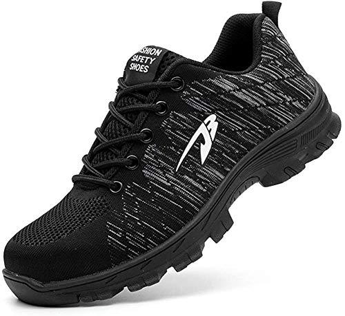 Zapatos de Seguridad para Hombres Zapatos de Acero con Punta de Seguridad,Zapatillas Deportivas Ligeras e Industriales Transpirables, Negro 42