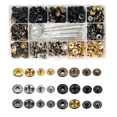 Daymi 120PCS Remaches Para Cuero, Botón a Presión de Metal 6 Colores + Metal Artesanía Herramineta de Fijación Snaps Botones