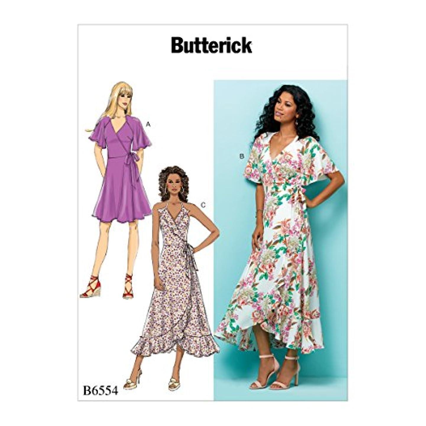 Butterick Patterns B6554A50 Misses' Wrap Dresses, A5 (6-8-10-12-14)