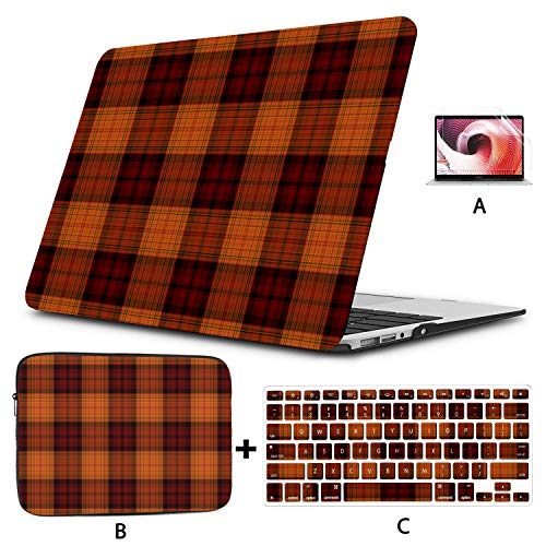 Laptop 13 Inch Case Cute Orange Lattices MacBook Air 1466 Case Hard Shell Mac Air 11'/13' Pro 13'/15'/16' with Notebook Sleeve Bag for MacBook 2008-2020 Version