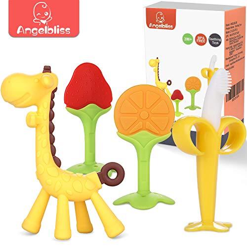 ANGELBLISS beißring für babys kühlend,Kleinkinder beissring für zum zahnen,Natürlicher Kühlbeißring,Von der FDA zugelassene Beißring Spielzeug- 4 Stück