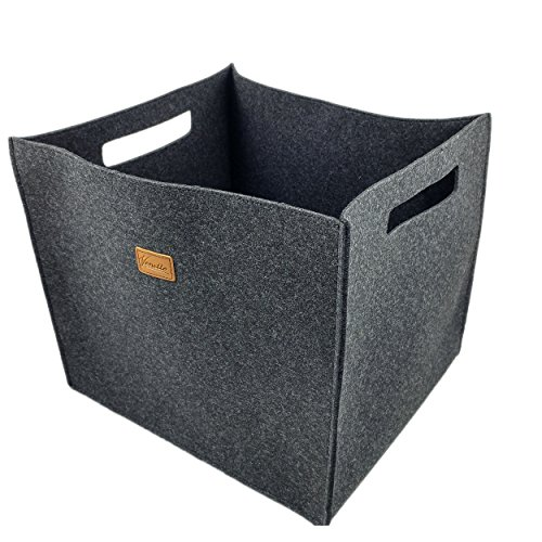 Box 38x33x33cm Filzbox Aufbewahrungskiste Aufbewahrungsbox Filzkorb Kiste Filz, Korb, Kiste, Boxen, Aufbewahrung Aufbewahrungskorb für IKEA Regal, Kofferraum, Kellerregal, Regalkorb (Schwarz meliert)
