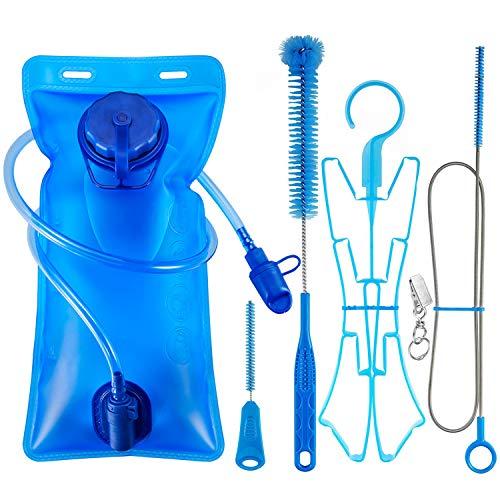 Bolsa de hidratación 2L + kit de limpieza de vejiga, bolsa de depósito de agua ICETEK a prueba de fugas con válvula de autobloqueo, juego de 5 en 1 limpiador con 3 cepillos de limpieza fácil y marco