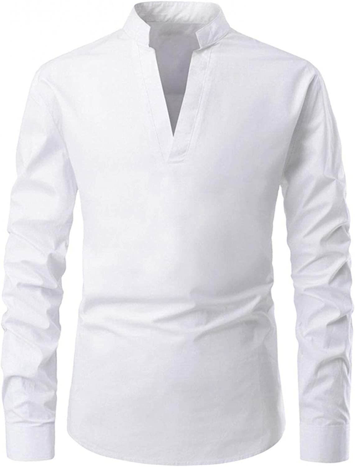 WUAI-Men Slim Fit Henley Shirts Casual Long Sleeve V-Neck Stretch Banded Collar Fashion Hippie Athletic Muscle Tops