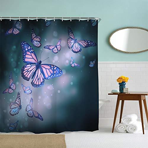 AlanRoye Duschvorhang aus Stoff, Schmetterlinge in Violett, Blau, Mauve, Aquarell, Frühlingsdekoration, maschinenwaschbar, 183 x 183 cm