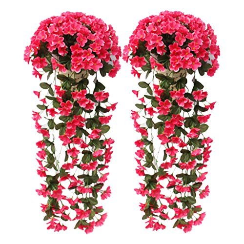 Muzi 2 Pack Artificial Violet Flower Silk Plastic Flowers Wall Wisteria Basket Simulation Rattan Plant for Wedding Decorations Home Garden Party Decor-Rose Red