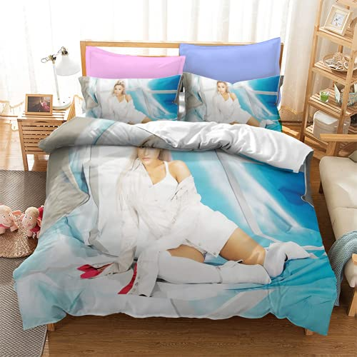 YYXPDD Juego de ropa de cama de 3 piezas de Beauty Singer Ariana Grande, funda nórdica de 100% microfibra, fácil de cuidar y mantener caliente (Ariana4,220 x 240 cm + 80 x 80 cm x 2)