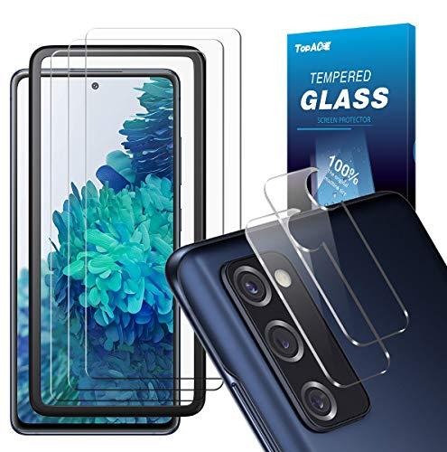 Topace - Protector de pantalla para Samsung Galaxy S20 FE (3) + cristal blindado para cámara (2), protector de pantalla y cámara, dureza 9H, HD, transparente, antiarañazos, para Samsung S20 FE 4G/5G