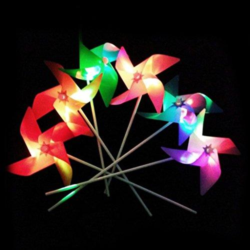 Hergon Lot de 10 moulins à vent lumineux - Jouet d'extérieur pour jardin, pelouse, fête, cadeau pour enfants
