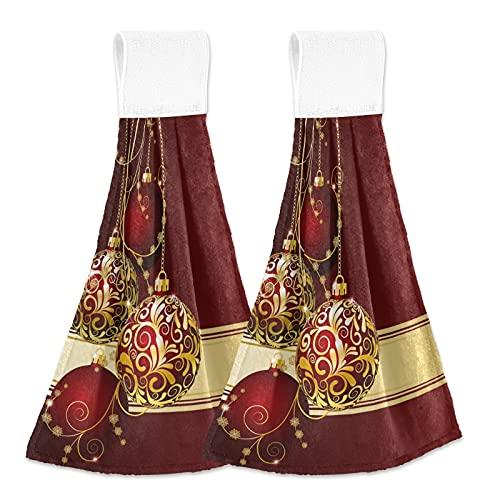 Oarencol Bolas de Navidad Copos de Nieve Oro Cocina Toalla de Mano de Navidad Absorbente Toallitas Colgantes con Lazo para Baño 2 Unidades