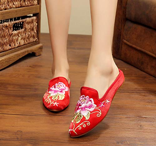 COQUI Zapatillas casa Mujer,Nuevas Zapatillas de Tela de Beijing, Zapatos Bordados étnicos Puntiagudos, Estilo Chino, Ropa Exterior Retro, para Mujer-Rojo_43