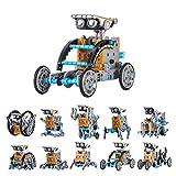 HahaGo Kit de Robot Solar 12 en 1 DIY Kits de Ciencia Robots de Codificación Ingeniería Juego de 190 Piezas Alimentado por el Sol para Mayores de 10 Años Niños Regalos (Azul + Gris)
