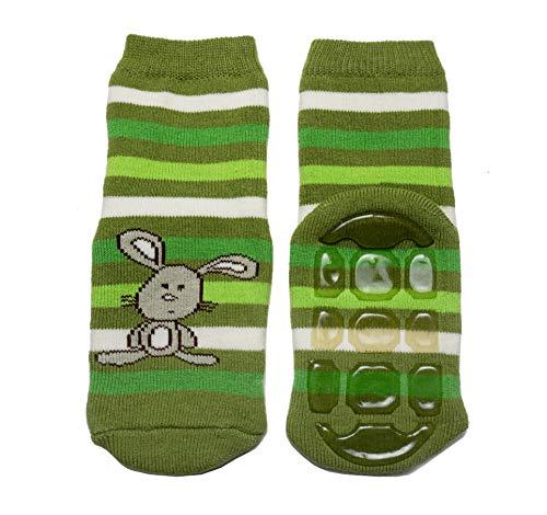 Weri Spezials Baby Voll-ABS Voll-Frotee Ringel Hase Socke in Grasgruen Gr.19-22 (12-24 Monate)
