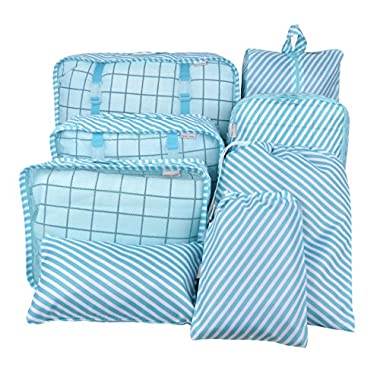 8 Set Packing Organizer,Waterproof Mesh Travel Luggage Packing Cubes with Laundry Bag Shoes Bag Blue Striped