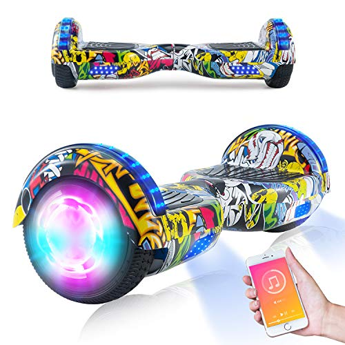 Sanvaree Hoverboard, scooter autobilanciato da 6,5 pollici per bambini, scooter elettrico Segway Hoverboard con luci a LED Altoparlante Bluetooth Ruote lampeggianti Migliori regali per bambini