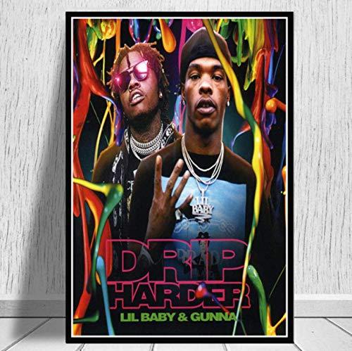 Impresiones De Carteles Lil Baby & Gunna Drip Hip Hop Rap Music Singer Star Wall Art Canvas Pintura Sala De Estar Decoración del Hogar 40X50Cm -Gl833