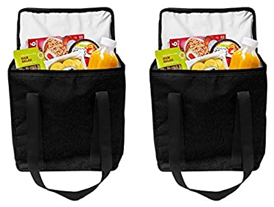 Earthwise Reusable Insulated Grocery Bags Heavy Duty Nylon Thermal Cooler Tote WATERPROOF with ZIPPER Closure KEEPS FOOD HOT OR COLD (2 Pack)