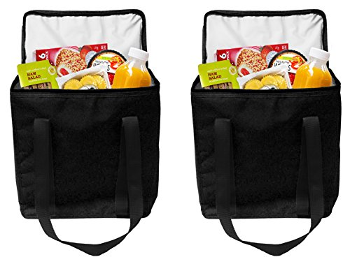 Insulated Grocery Bags Reusable Heavy Duty Nylon Thermal Cooler Tote Leakproof with Zipper Closure Keeps Food Hot or Cold Great for Food Delivery Ubereats, Doordash, Grubhub (Black)