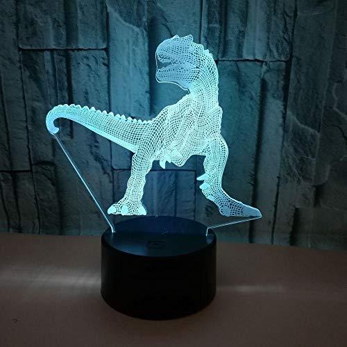 Wangzhongjie Lámpara De Dinosaurio Ilusión 3D Led 7 Cambio De Color Táctil Luz Nocturna Lámpara De Mesa De Escritorio Decoración Del Hogar Niño Niños Regalo Juguete Seguro Luz Colorida