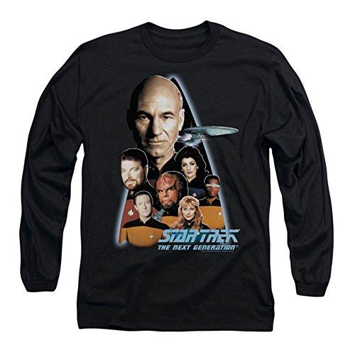 Star Trek - - Hommes Le T-shirt manches longues de la prochaine génération dans le noir, Large, Black