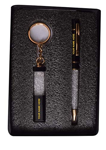 THE P3 STORE - PERSONALIZED DIAMOND PEN SET WITH KEYCHAIN AND NAME ENGRAVED FOR GIFT, WEDDING GIFT, BIRTHDAY GIFT, ANNIVERSARY GIFT