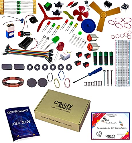 CodifyMonk Beginner's Kit - Learn As You Build, 125 Items in a Kit Along with Instruction Cum Project (More Than 100) Manual, Advanced Project Using 555IC & Bread Board