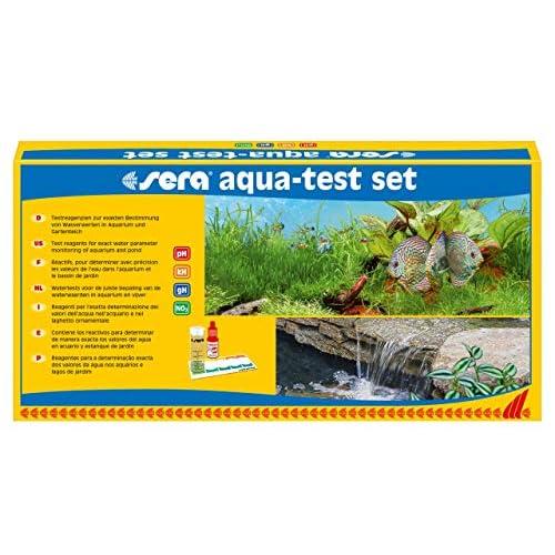 Sera 04000 Aqua-Test, Set di Test per acquari e laghetti con i 4 Principali Test dell'Acqua PH, GH, KH, NO2 per Acqua di laghetto o Acquario, Test per avanzati, rapidi, accurati e Professionali