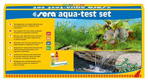 Sera, 04000, Set di Test per acquari e laghetti con i 4 Test dell'Acqua più Importanti PH, GH, KH, NO2 per Acqua del laghetto o Acqua dell'acquario, Test rapidi, accurati, Professionali
