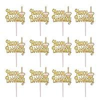 約12個 ケーキトッパー  happy birthday 誕生日/パーティー トッピング 飾り