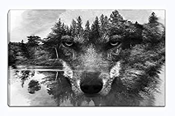 Wolf Canvas Wall Art Animal Paintings Picture Black and White Prints Artwork Ready to Hang for Living Room Bedroom Bathroom Home Decorations