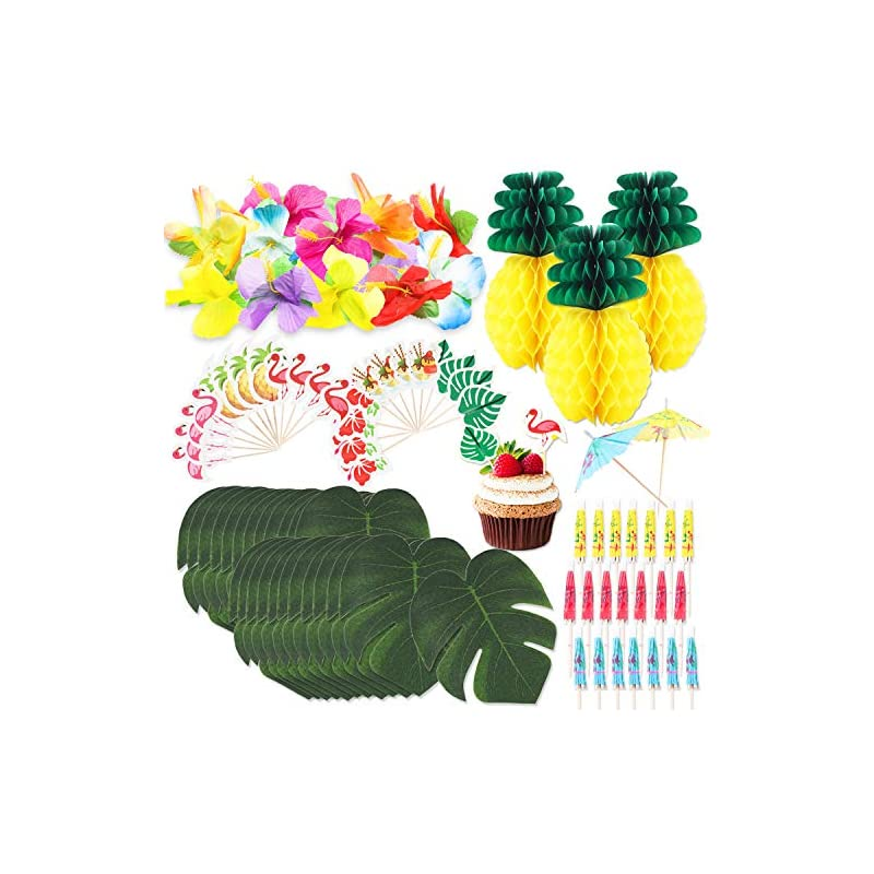 silk flower arrangements r horse 100 packs tropical hawaiian jungle party decoration set luau party supplies decor tropical palm leaves, silk hibiscus flowers, tissue paper pineapples, cupcake toppers, paper cocktail umbrella