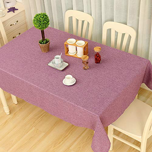 YOUYUANF Tablecloth rectangular linen disposable Washable cotton linen tablecloth, rectangular table cover, very suitable for self-service decoration of kitchen tables and tablesPurple60x90cm